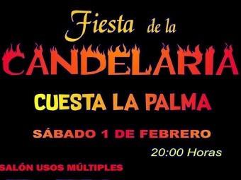 Cartel que anuncia la fiesta de la Candelaria en Cuesta La Palma. FOTO: EL CORTO