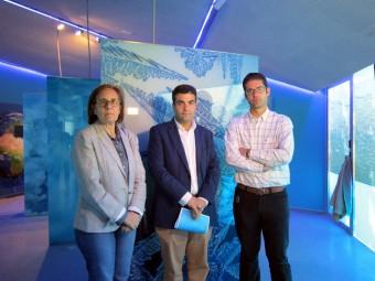 Ortiz, Camacho y Ordóñez durante su visita al Museo del Agua.