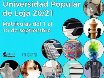 Cartel que anuncia las distintas disciplinas de la Universidad Popular. FOTO: EL CORTO