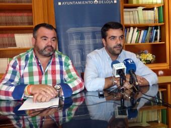 Concejal de Deportes y alcalde durante la presentación de la línea de subvenciones.