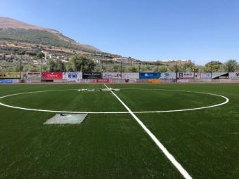 Las líneas del terreno de juego ya se han pintado.