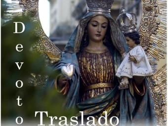 Cartel anunciador del traslado de la Virgen de la Caridad.