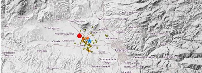 Mapa de los movimientos sísmicos que se sucedieron en el cinturón de la capital. FOTO:IGN