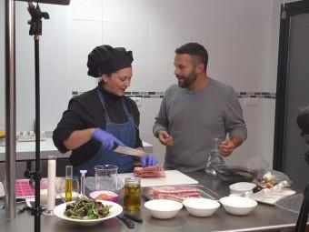 Victoria Tango y Gonzalo D'Ambrosio en la grabación del programa.