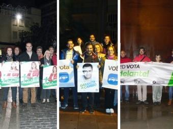 PSOE, PP Y ADELANTE ANDALUCÍA protagonizaron la pegada de carteles. Foto: J.MªJ.