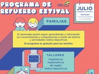Cartel que anuncia el Programa de Refuerzo Estival de la Junta. FOTO: EL CORTO