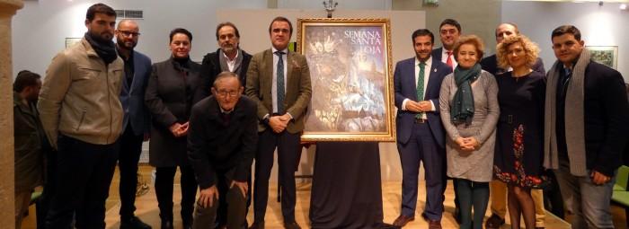 Alcalde, autor del cartel, pregonera y representantes cofrades junto al cartel. FOTO: J.A.