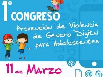 Cartel que anuncia el I Congreso sobre prevención violencia digital. FOTO: EL CORTO