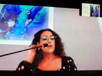 La investigadora Tiziana Palandrani, durante su conferencia. FOTO: EL CORTO