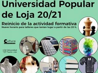 Cartel anunciador del reinicio de las clases de la Universidad Popular. FOTO: EL CORTO