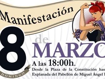 Cartel anunciador de la manifestación del domingo 8M en Loja. FOTO: EL CORTO