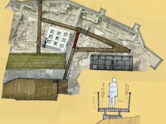 Diseño de la pasarela por la que se recorrería el patio de armas. FOTO: EL CORTO