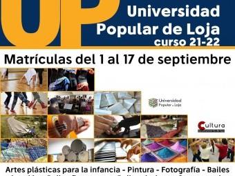 Cartel que anuncia los cursos de la Universidad Popular de Loja. FOTO: EL CORTO
